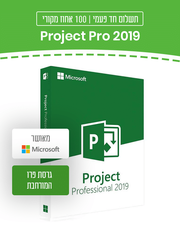 Project Pro 2019 גרסת פרו המורחבת
